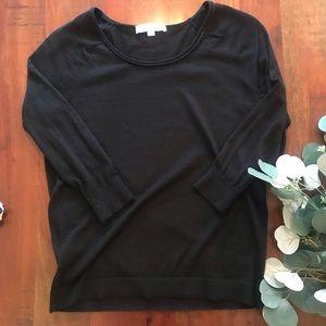 LOFT Rolled Scoopneck Sweater in Black